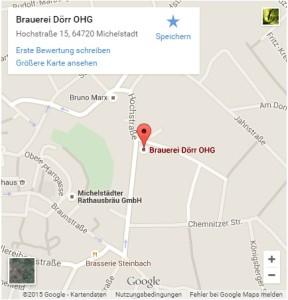 Hier sieht man den Standort der Brauerei Dörr auf einer Karte